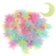 New Product 100PC Kids Bedroom Fluorescent Glow In The Dark Stars Glow Wall Stickers Stars Luminous Glow Sticker Color