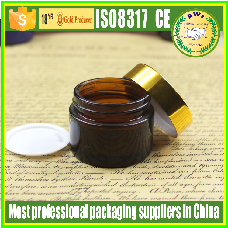 cosmetic product amber glass jar 1oz 50ml 2oz herb packaging glass jars