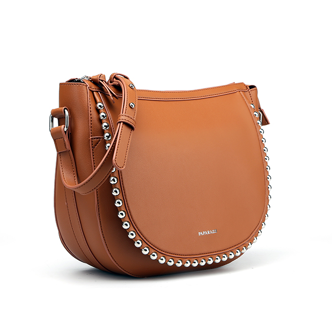7438 Hot sale ODM wholesale fashion studs decorative ladies graceful style leather shoulder saddle bags