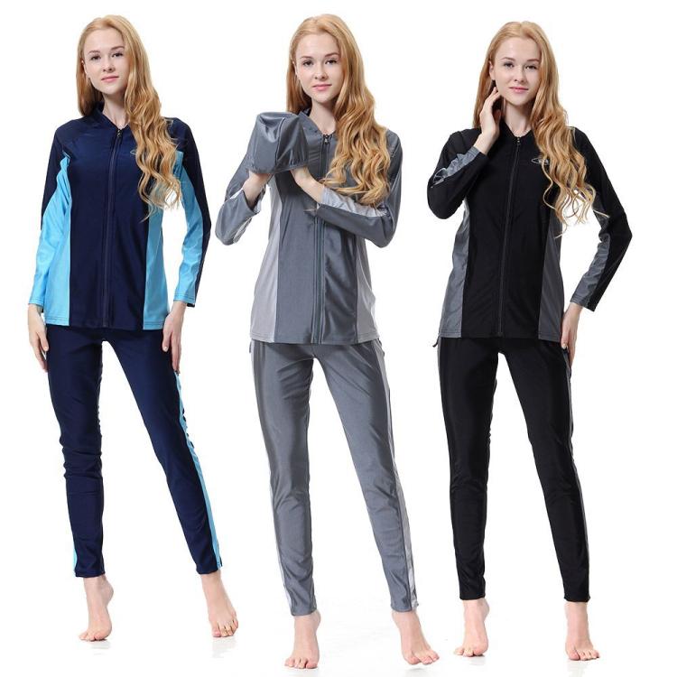 High quality 3 pieces front zipper style modest islamic swimwear muslim фото