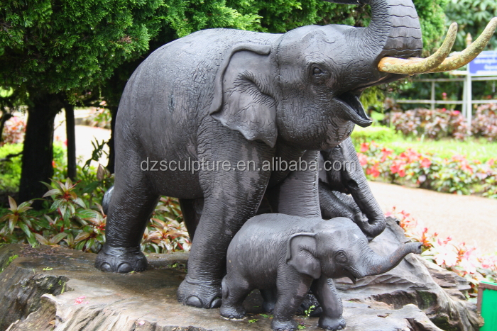 High quality outdoor fiberglass lifellike life size elephant statue