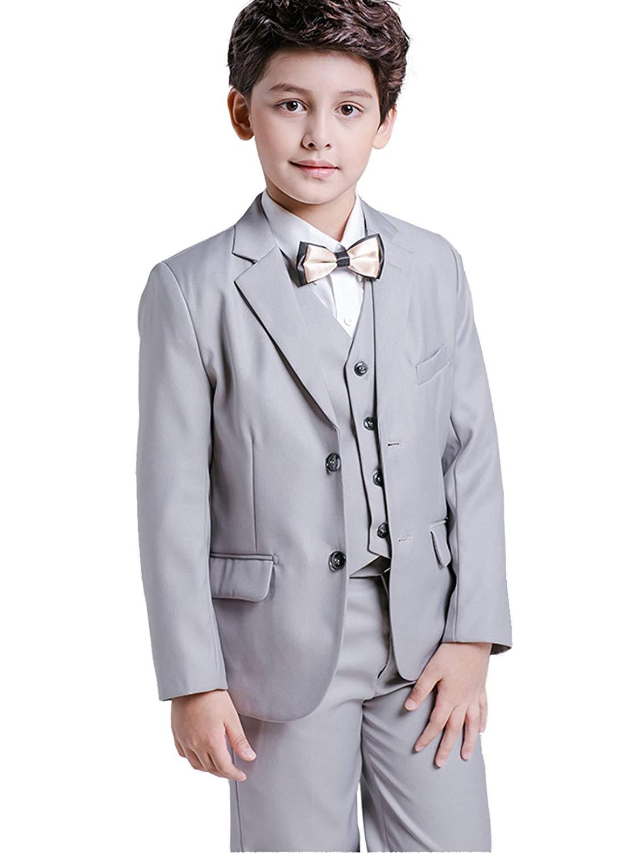 SK Studio Boys 5 Pieces Wedding Solid Color Dress Formal Suits