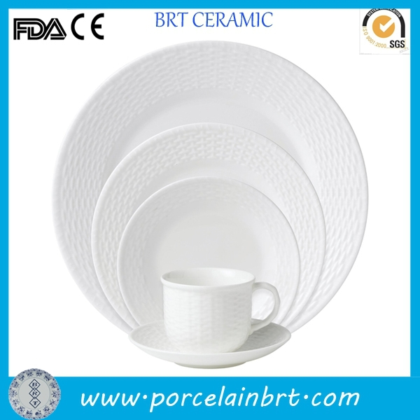 White embossed fine bone china dinnerware