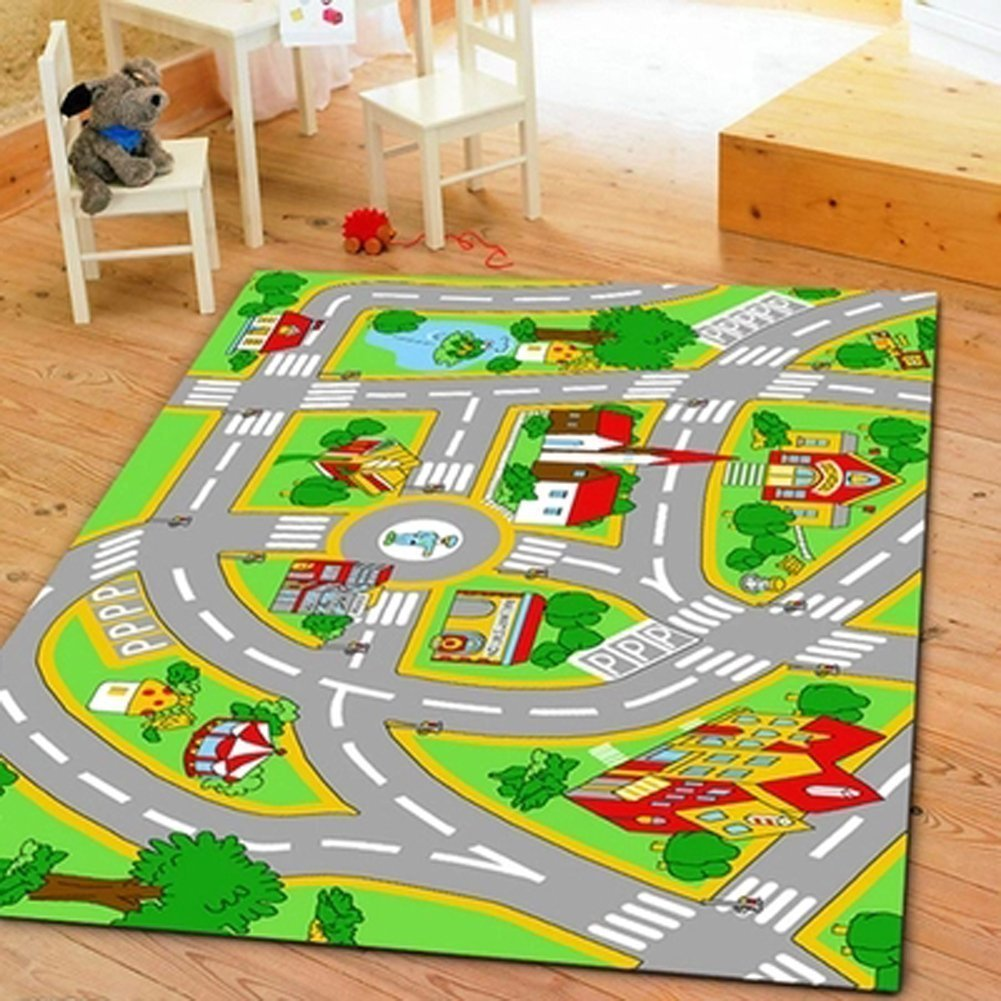 Huahoo Kids Rug With Roads Play Mat City Street Map Children Learning Carpet
