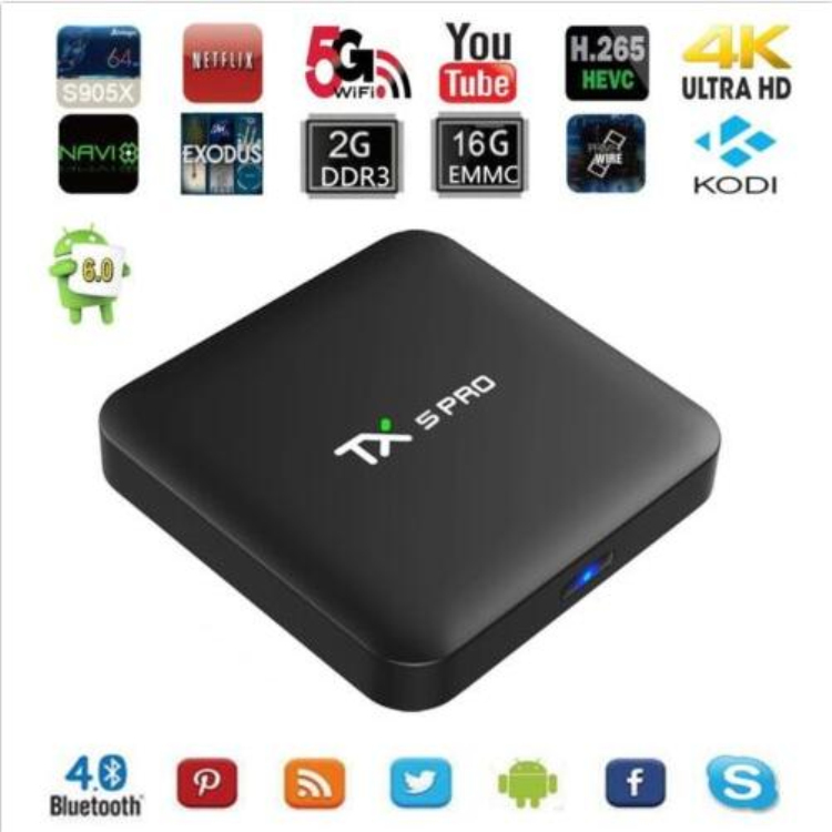 New arrival google android 6.0 tv box Amlogic s905x TV Box TX5 PRO tv streaming box