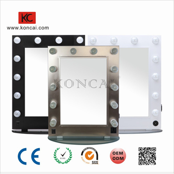 Wood Laminate Or Aluminum Frame 12 Bulbs LED Cosmetic Mirror Vanity Mirror For Home And Makeup Artist