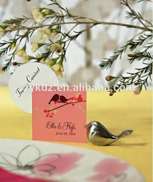 Wedding Souvenirs Love Bird Metal Place Card Holder Wedding Favors Gifts