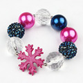 Free Shipping High Quality Child Beaded Bracelets Snow Flake Charm Clear Crystal Elastic Strand Bangle Bubblegum