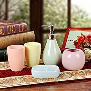 M&CLotion Bottle Tumbler Toothbrush holder Soapbox Continental multicolored ceramic bathroom suite