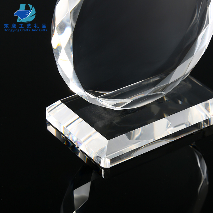 New custom glass shield awards and trophies with base