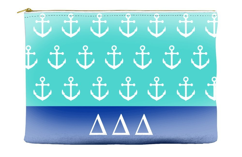 Delta Delta Delta (Tri Delta) Anchors Teal Cosmetic Accessory Pouch Bag for Makeup Jewelry & other Essentials