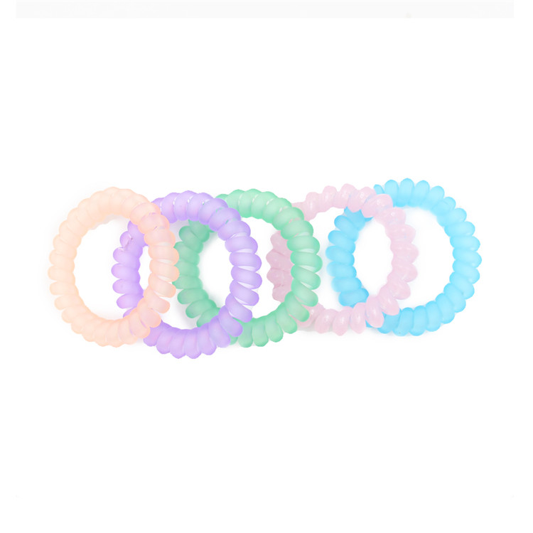 Leisure Fashionable Bright-Colored Rubber Stretchy Customized Pure Color Telephone Line Hair Bands