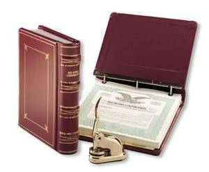 Blumberg Red Russia Leather LLC Kit with Records Binder, Company Seal, Certificates, and 50 Sheets of Blank Minute Paper (KRB185LLC)