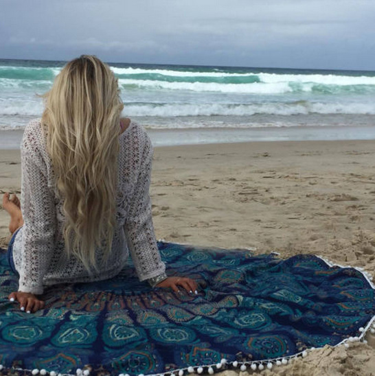 Round Mandala Indian Hippie Boho Tapestry Beach Picnic Throw Towel Mat Blanket