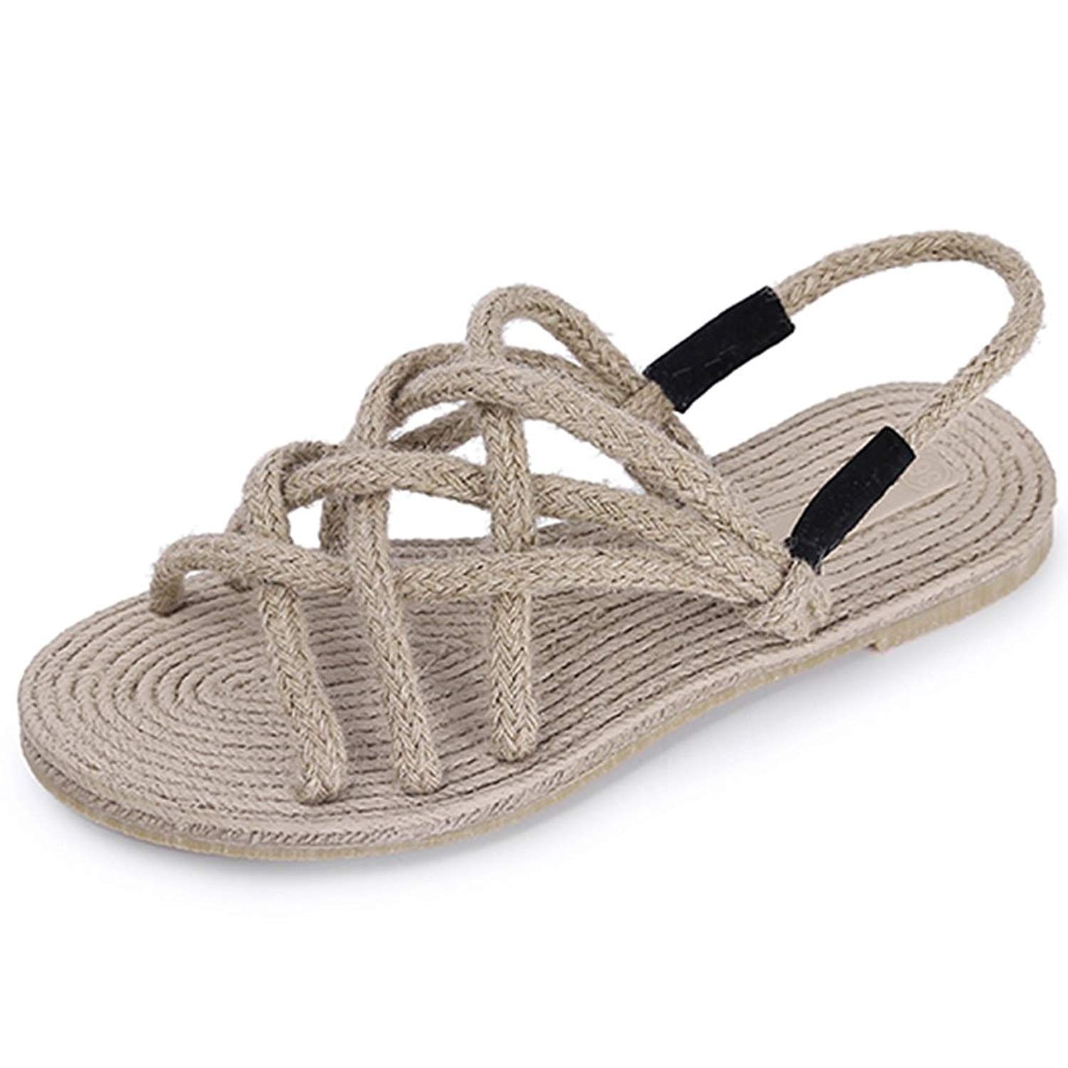 bc18704dc Get Quotations · Sandals Hemp Rope Sandals Female Summer Retro Roman Flat  Bottom Weave Students Casual Shoes