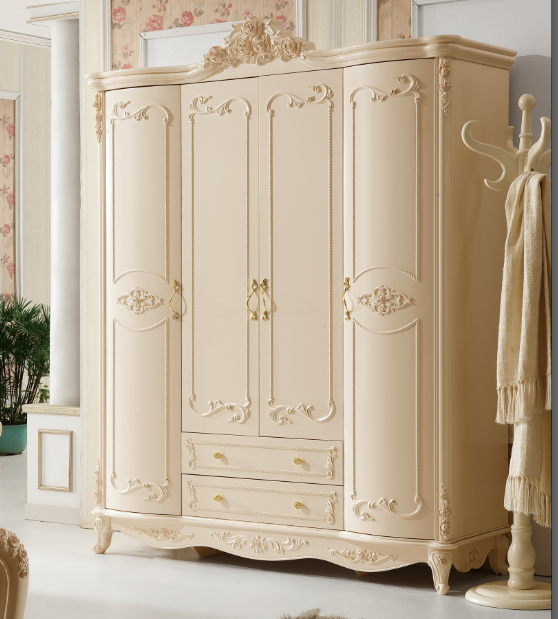 Luxury French fancy antique design Bedroom Furniture sets with solid wood wardrobe