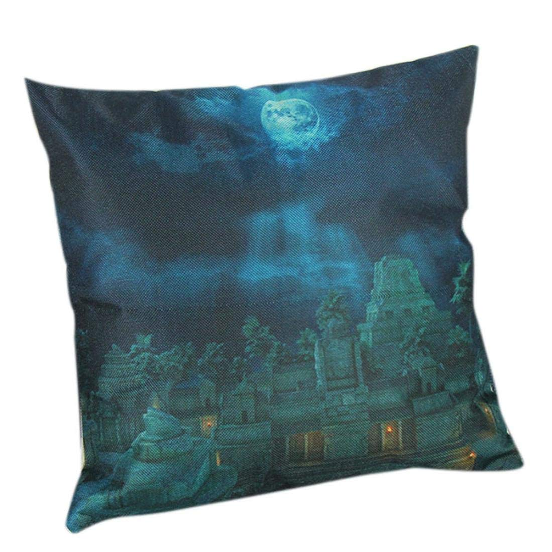 Zainafacai Home Decor Happy Halloween Pillow Cases Pumpkin Castle Print Linen Sofa Cushion Cover 1818 inch (A, One Size)