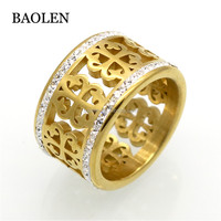 Fashion Brand Trendy Flower Vintage Wedding Rings For Women Classic Design Gold Color Stainless Steel 2 Row Zircon Crystal Ring
