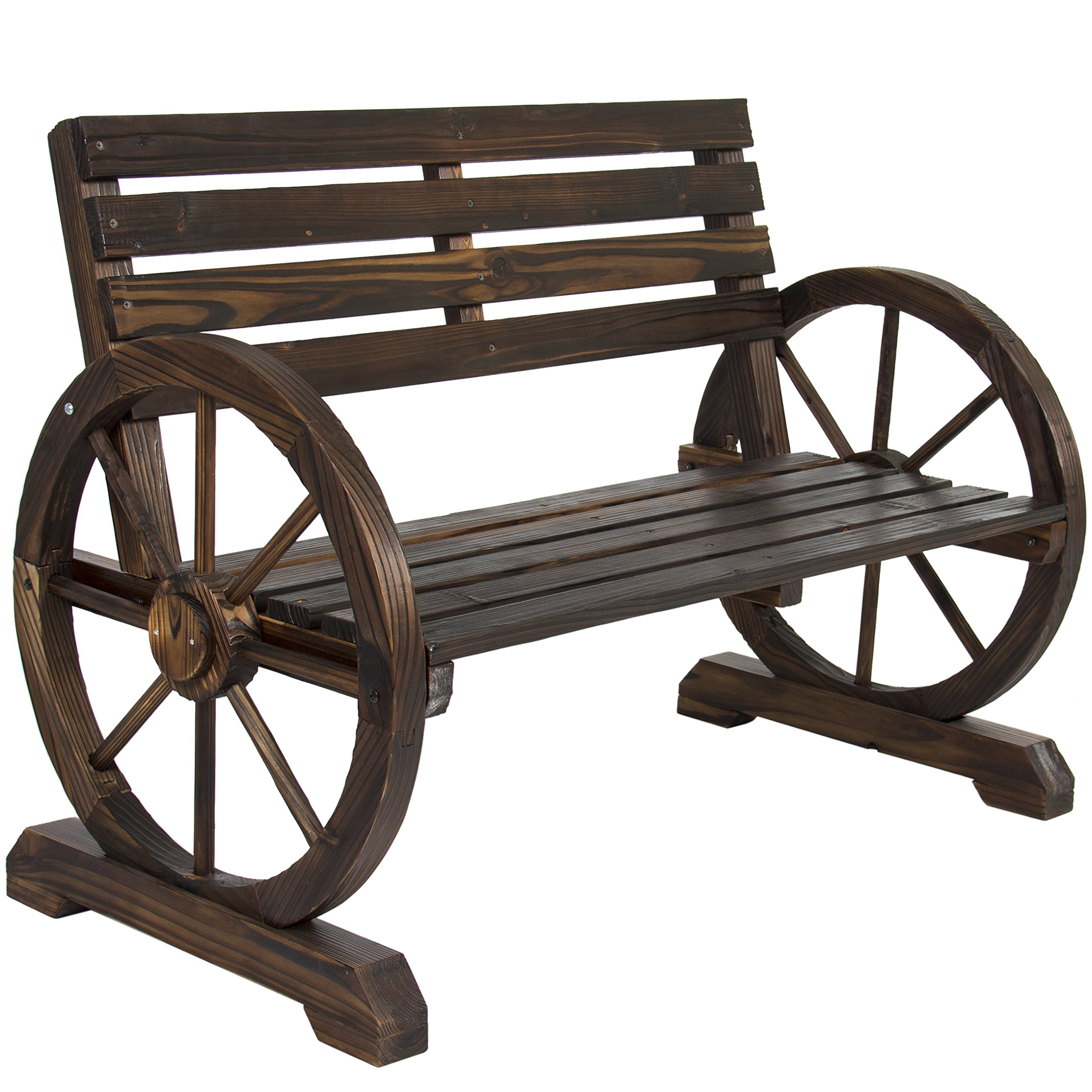 Attrayant Get Quotations · Best Choice Products Patio Garden Wooden Wagon Wheel Bench  Rustic Wood Design Outdoor Furniture