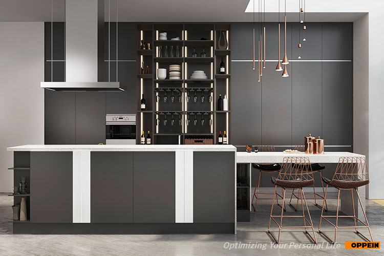 OPPEIN 2019 new design handle free black kitchen cabinets