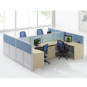 CF Y-shape office call center workstation desk for 5 with movable pedestal/wire management