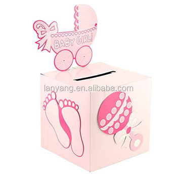 Pink Girl Baby Shower Wishing Well Card Box Decoration Cute Pretty