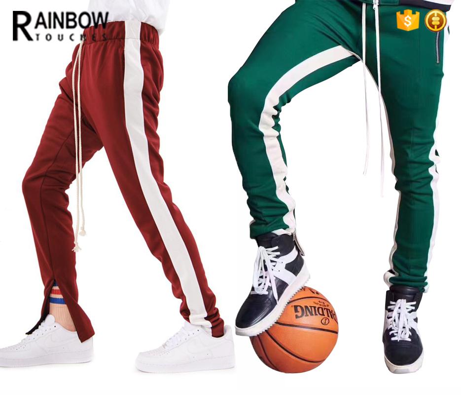 Custom Mens Long Drawstring Slim Fit Track Pants With Stripe фото