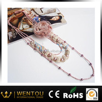 hand made multi strand fabric flower pearl necklace
