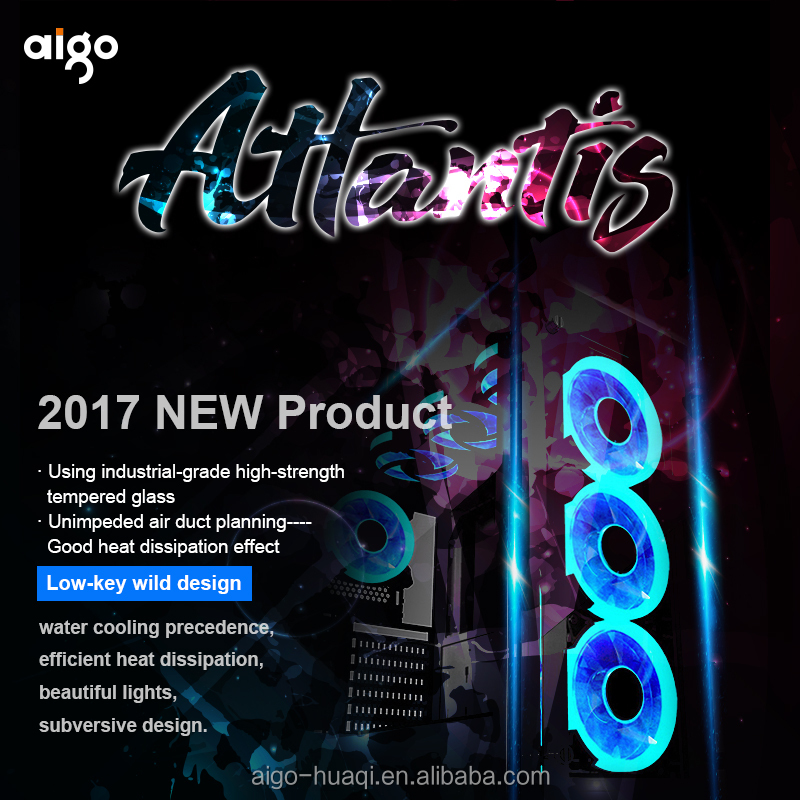 2017 new aigo computer case gaming tempered glass ATX desktop case