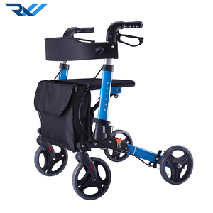 Aluminum adult folding lightweight rollator walker with seat and four wheels for elderly people