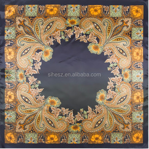 100% silk scarves sublimation printing custom design square satin scarves