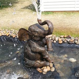 Outdoor Garden Ornament Bronze Elephant Water Fountain