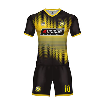 9ee9a1551ca 2018 Marshal Sports Jersey New Model Black And Gold Custom 100% Polyester V  neck Soccer