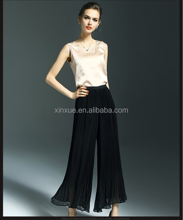 Ladies Chiffon high rise zip back palazzo pant for adults
