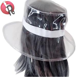lot of 8 women hair rain bonnets clear plastic cap hat