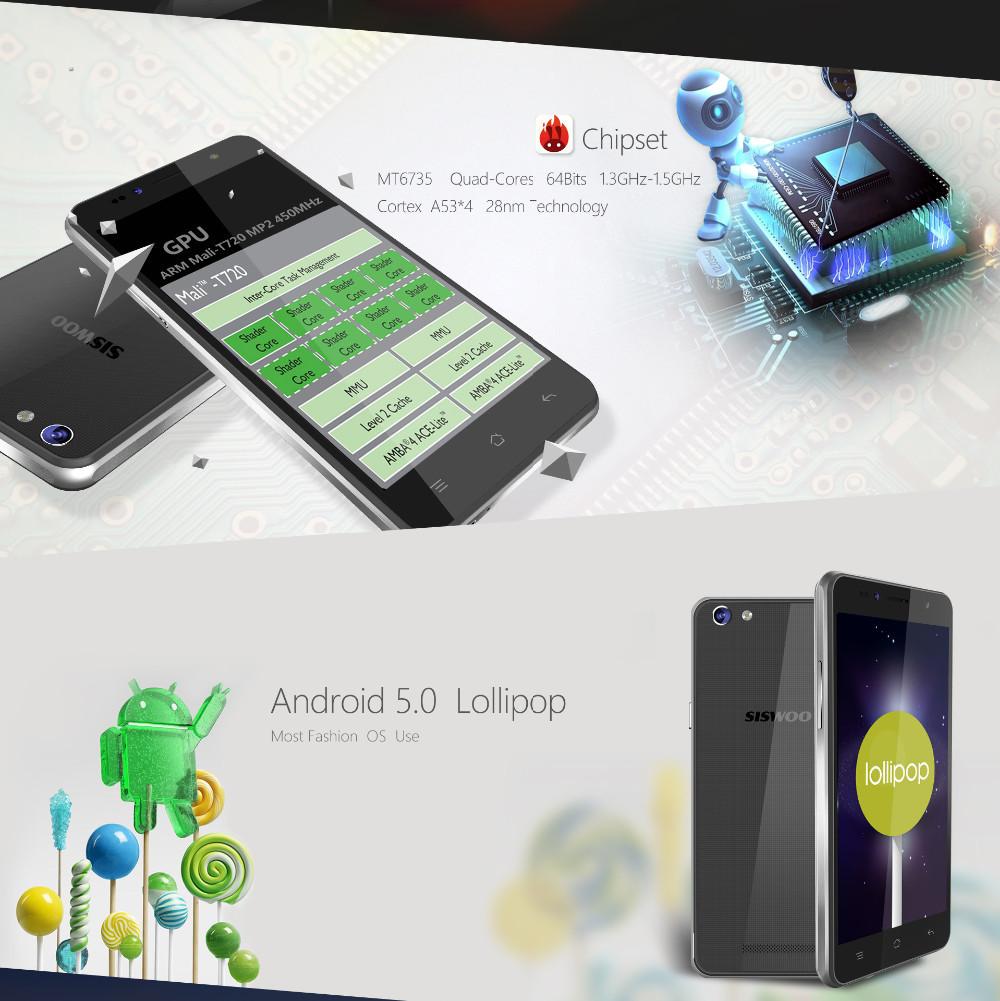 SISWOO C50 5 0″ IPS MT6735 Quad-Core Android 5 0 4G