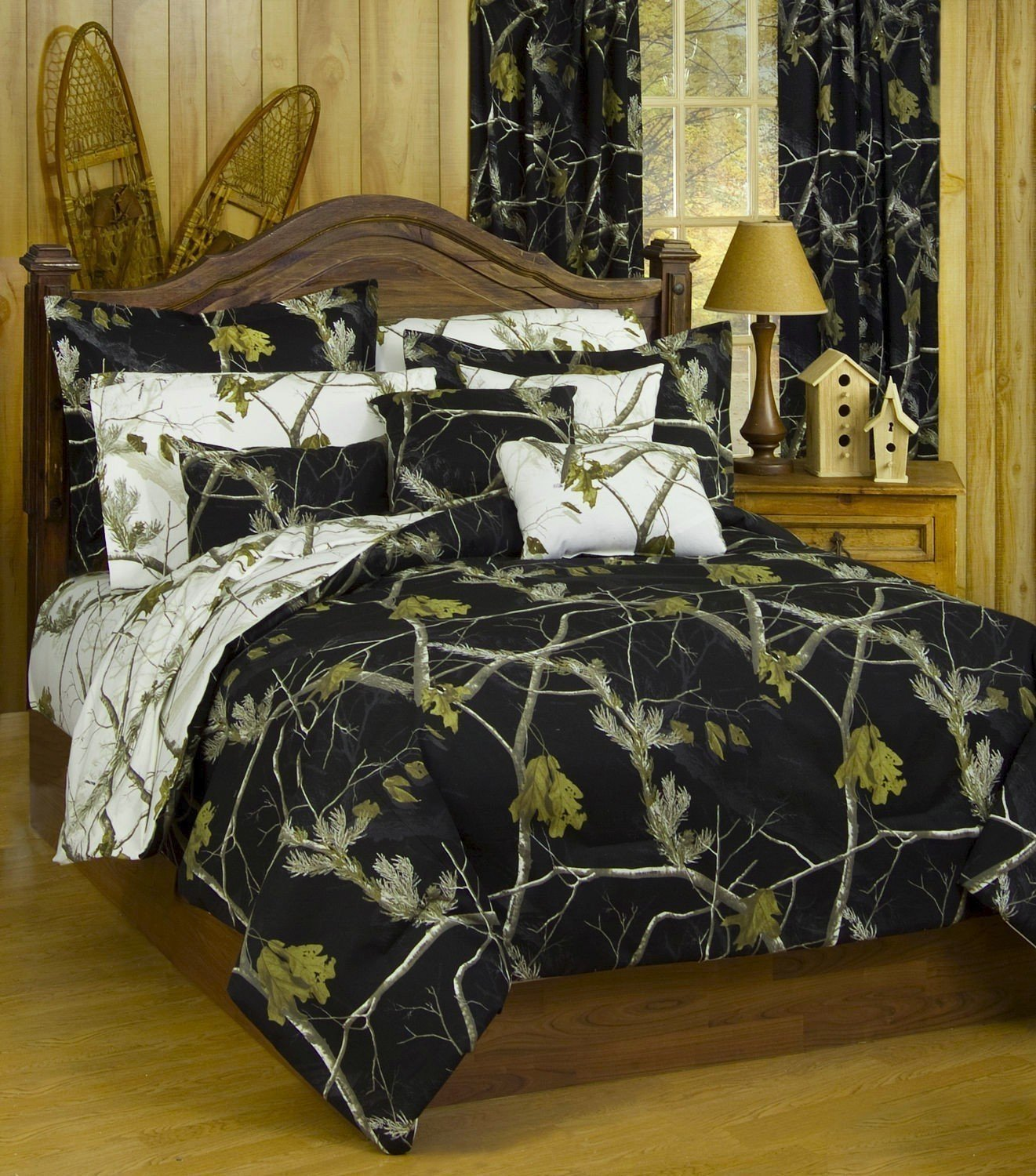 Realtree AP Black Camo 7 Pc Queen Reversible Bedding Set, AP White Camo Sheet Set & 2 Valance/Drape Sets: (Comforter, Sheets, 2 Pillowcases, 2 Pillow Shams , 2 Valance/Drape Sets For 2 Windows)