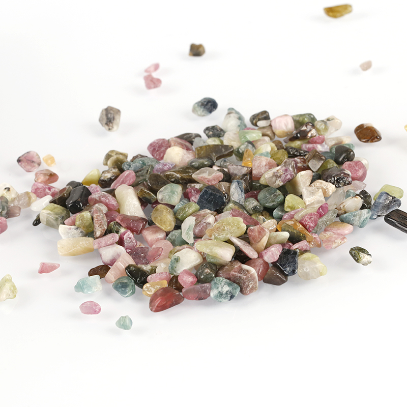 Undrilled Tourmaline gravel gemstone chips crushed <strong>stone</strong> for essential oil ball roller bottle