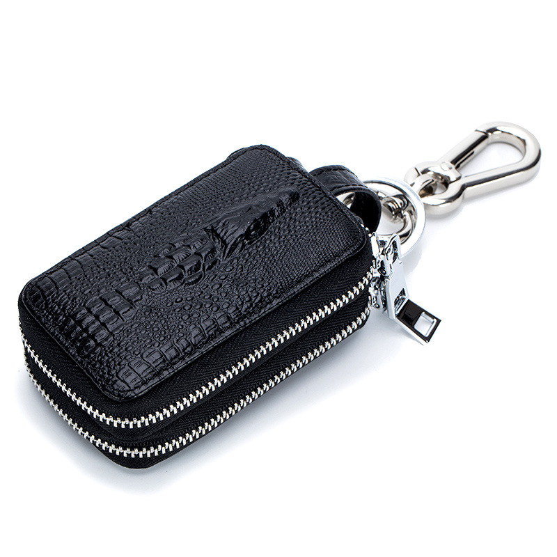 Custom high-capacity zipper car key pouch leather crocodile stripe multifunction key wallets genuine leather smart key holder