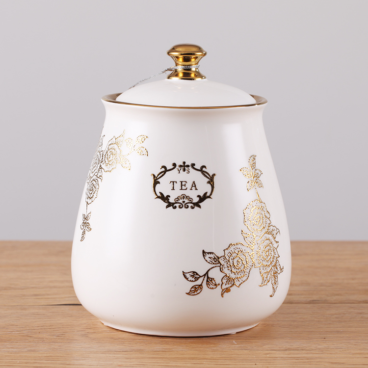 Exquisitely handmade health safety white gold color ceramic tea coffee sugar cookie jar to saving food