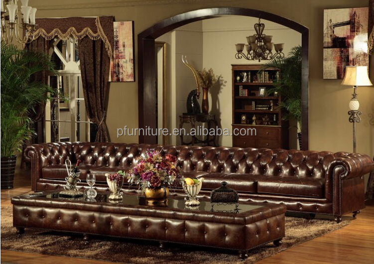 Classic Leather Chesterfield Sofaleather Sofa Set Chesterfield