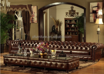 Clic Leather Chesterfield Sofa Set