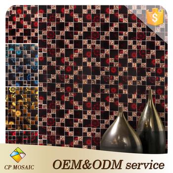 new design glass mosaic wall decoration kitchen bathroom hotel flower tree nice glass mosaic pattern mural