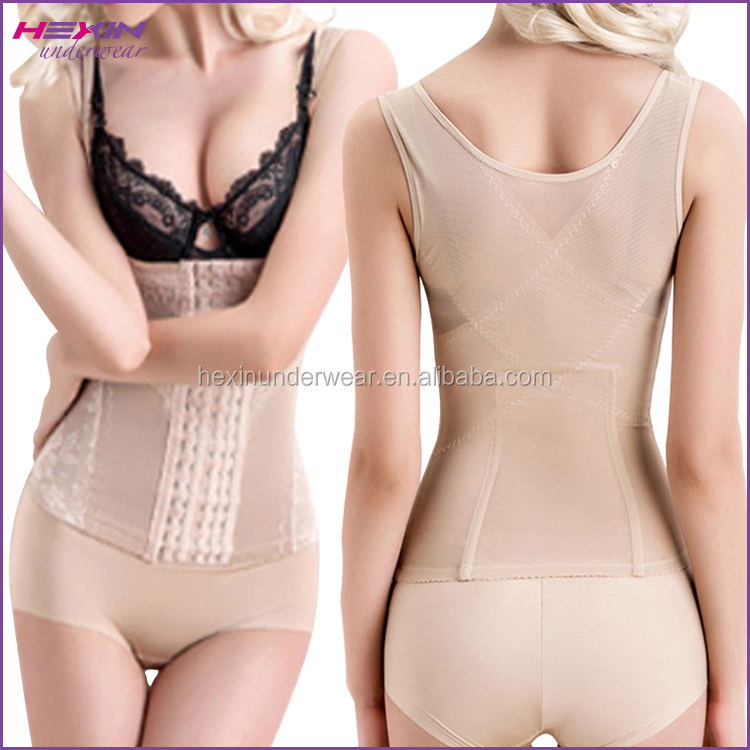 Nude Natural Color Transparent Shapewear Polyester Spandex Vests and Corsets
