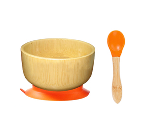 Baby Bamboo Feeding Spill Proof Stay Put Suction Round Bowl + Baby Spoon