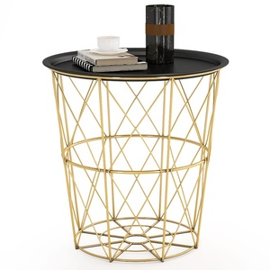 Tribesigns Modern Metal Sofa End Side Table with Storage Basket Removable Tray Rounded Coffee Table for Living bed Room