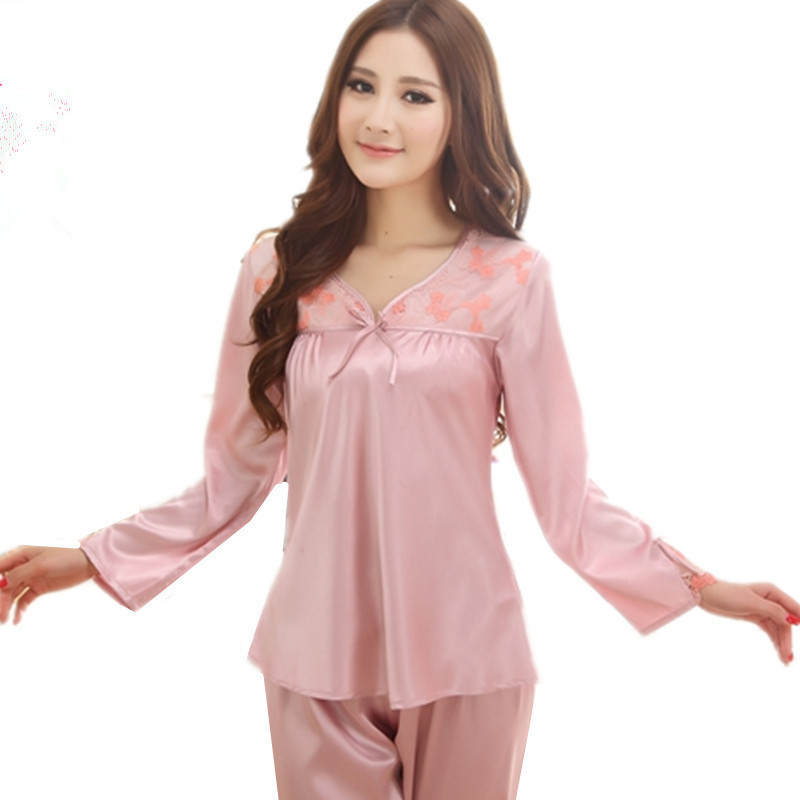 Get Quotations · Ladies Silk Pajamas Luxurious Embroidery Long Sleeve  Sleepwear Women s Sleep Lounge Pajama Sets Pyjamas Women e435f938d