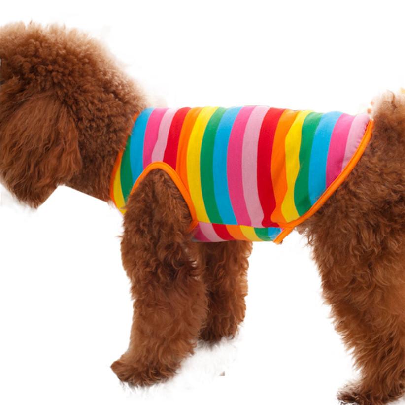 Недавно дизайн радуга ткань в полоску домашнее животное рубашка жилет собака одежда щенок Cat одежда костюм одежда для тедди чихуахуа лето