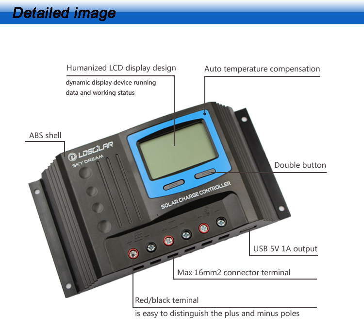 LDSOLAR new design 12 24v 30a Lcd Solar Charge Controller