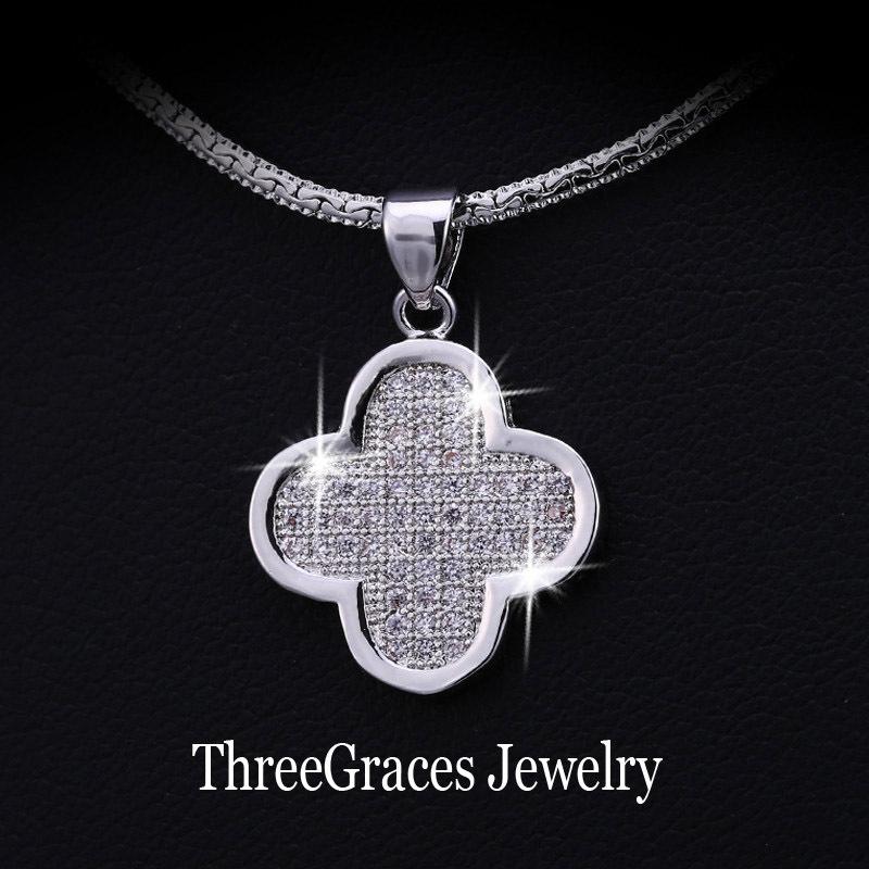 Мода CC марка ювелирные изделия белый позолоченный цирконий алмаз проложить четыре листа кулон цепи ожерелье для подруги PN015